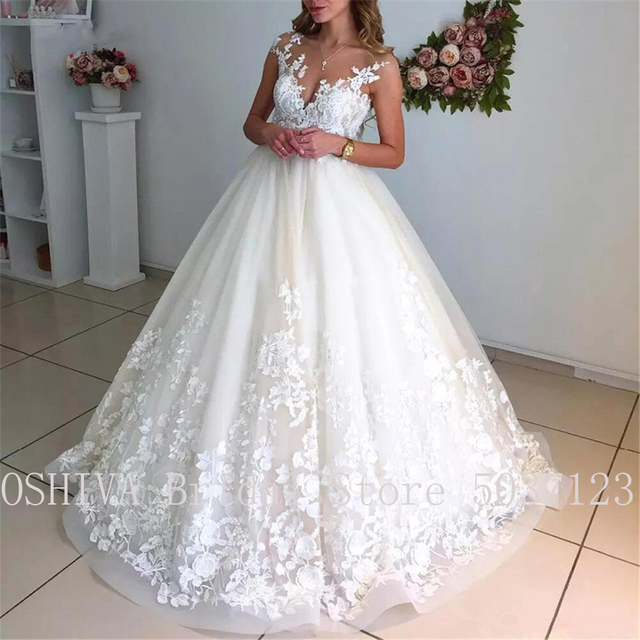 Ball Gown Illusion Scoop Wedding Dresses with Cap Sleeves Sexy Sleeveless V Back Lace Appliques Bridal Gowns Robe de Mariee 2