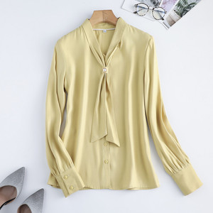 Image 5 - ライトグリーン長袖シャツ女性秋ゆるいカジュアルな弓リボンol高品質ファッションブラウスオフィスレディースワークトップ