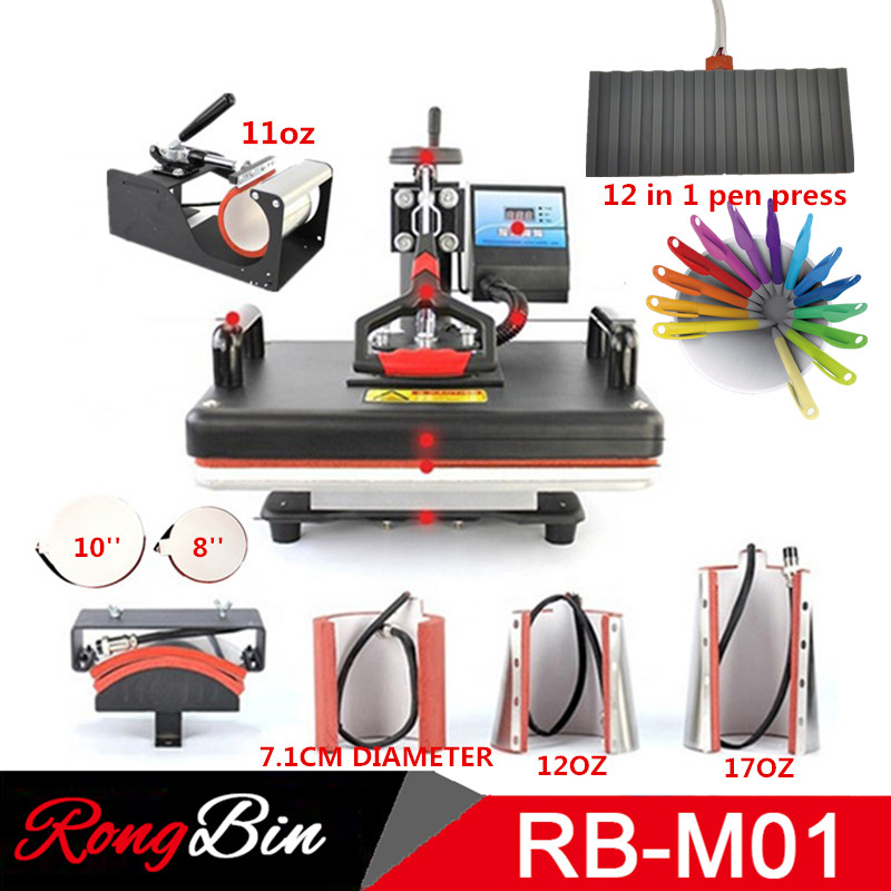 Multifunctional 30*38CM Combo Heat press Machine Sublimation Printer 2D Heat Transfer Machine for Pen Cap Mug Plate Tshirts-in Printers from Computer & Office    1