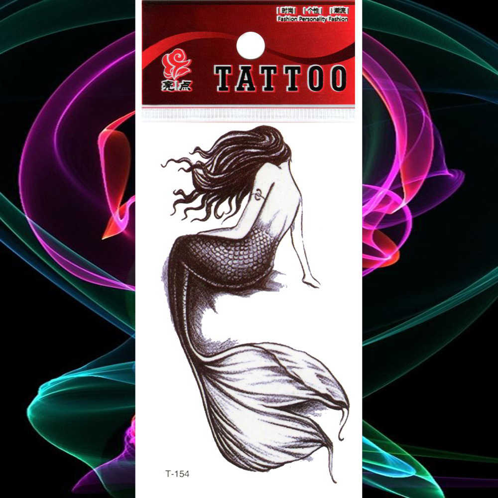 Waterproof Temporary Tattoo Stickers Watercolor Mermaids Fake Tatto Flash Tatoo Tatouage Body Art Arm Leg Hand Girl Women Men