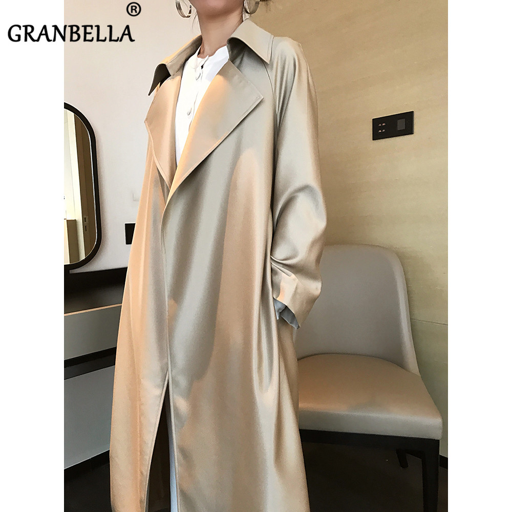 Luxury Brand Famous New Fashion Trench Coats  Lapel Collar Ladies Shiny Spring Overcoats
