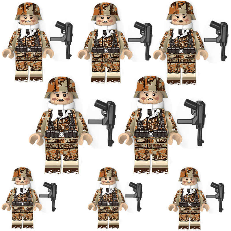 10 stks/partij Militaire Serie Bouwsteen Bakstenen Camo Soldaten Weaspon Cijfers Diy Educatief Speelgoed Kinderen Gift X437