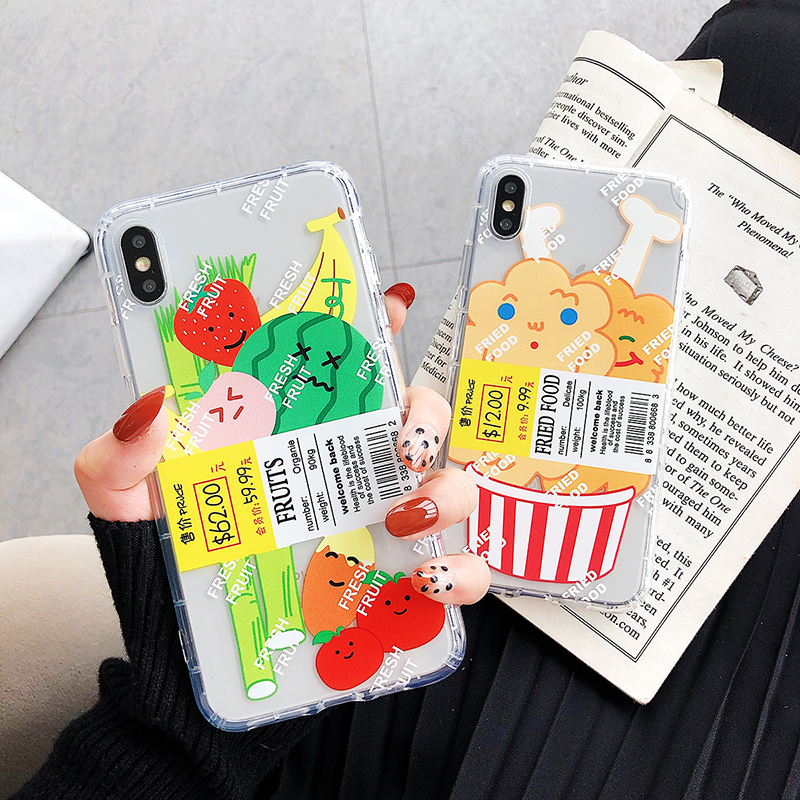 Cartoon Funny fried <font><b>chicken</b></font> fruit Phone <font><b>Case</b></font> For <font><b>iPhone</b></font> 11 Pro X XS Max Xr 8 7 <font><b>6</b></font> s Plus ins lable Clear Soft Cover Coque image