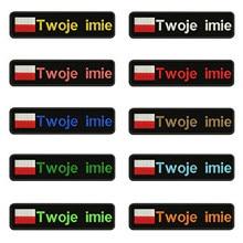 Polonês Polônia bandeira 10X2.5cm Bordado Nome Custom Text Stripes Patch emblema Iron On Ou o Apoio de Velcro Patches Para Roupas