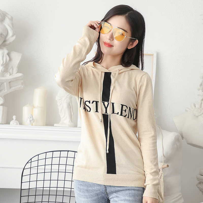 LHZSYY 2019Autumn Winter New Womens Knitted Hooded Collar Sweater Letter Pattern Loose Bottoming Shirt Short Wild Warm Pullover