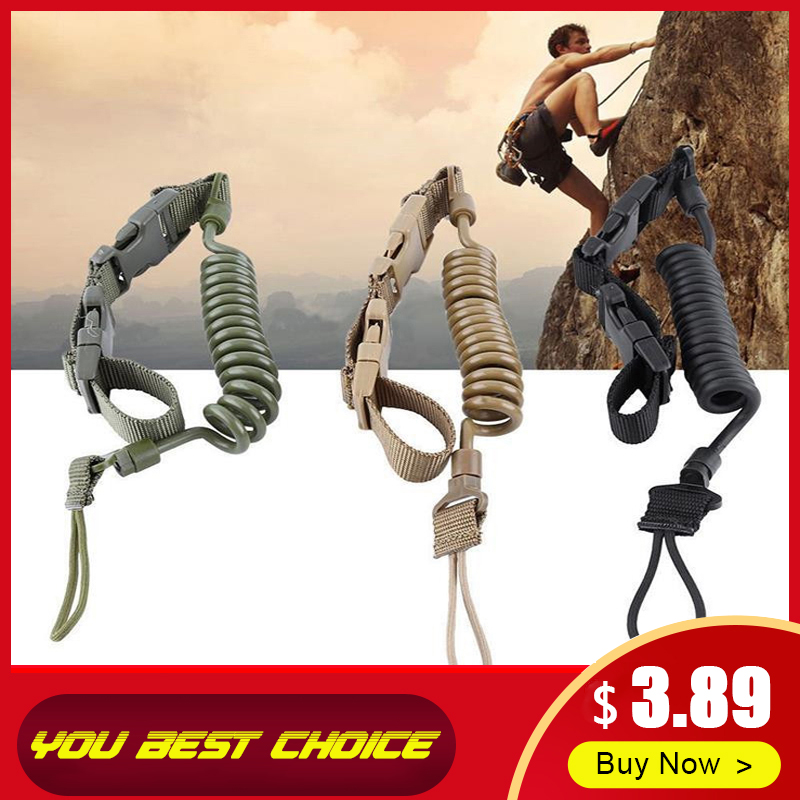 Tactical Anti-lost Elastic Lanyard Rope Military Spring Safety Strap Gun Rope For Key Ring Chain Flashlight Outdoor Accessories