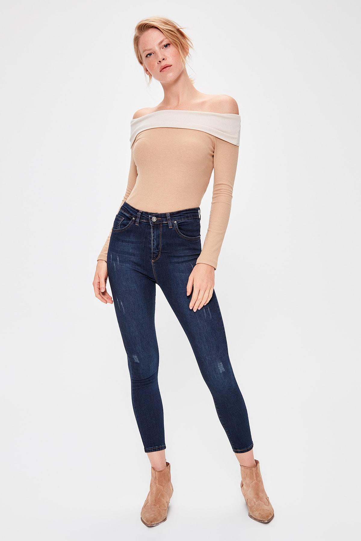 Trendyol Navy Yıpratmalı Normal Waist Skinny Jeans TWOAW20JE0227