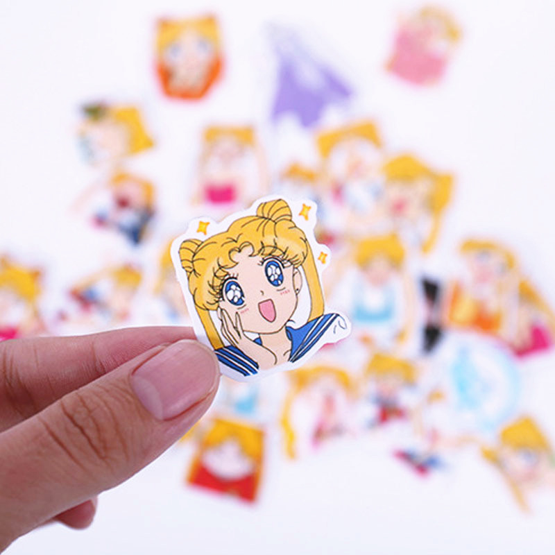 33pcs Set Anime Sailor Moon Sticker Cartoon DIY Scrapbook Craft Decor Cosplay Prop Accessories