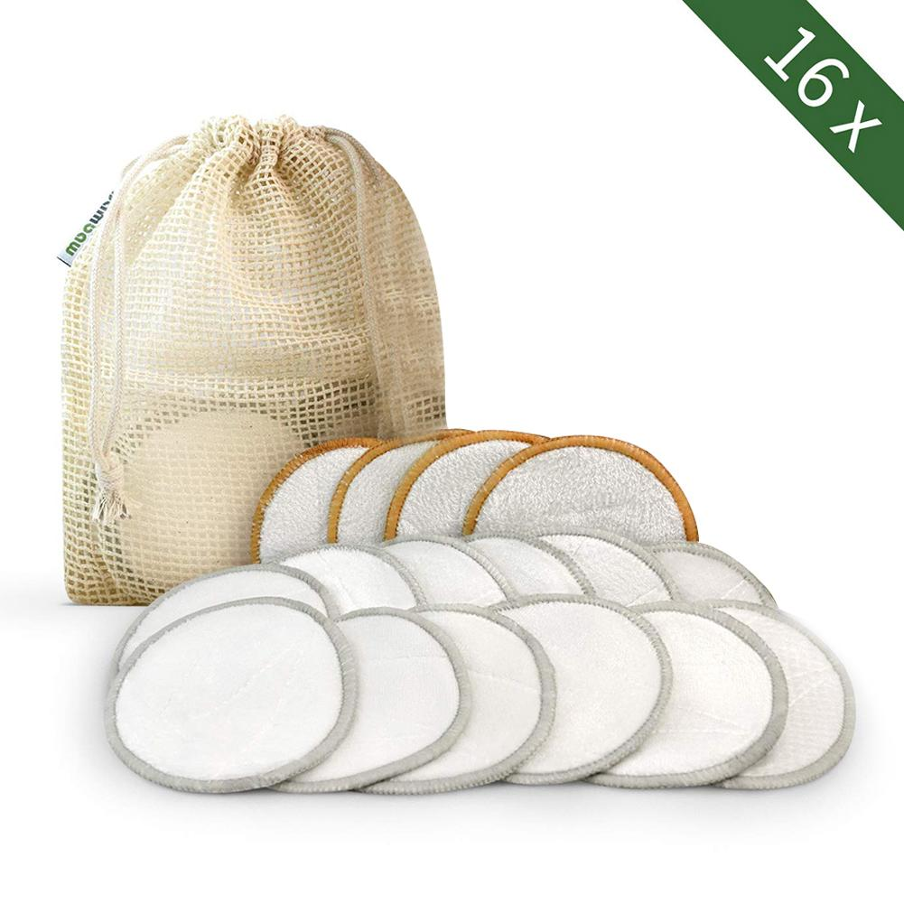 New Bamboo Reusable Organic Cotton Pads Makeup Remover Washable Facial Cleansing Microfiber Makeup Remover Or Sensitive Skin #