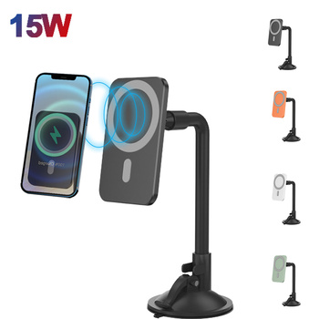 15W Magnetic Wireless Car Desktop Charger Mount Fast Charging Wireless Charger For IPhone 12 Pro Max Mini Samsung Xiaomi Huawei image