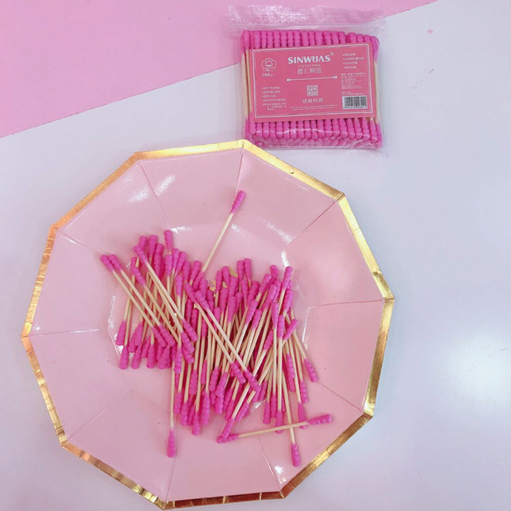 100PCS Pink Girl Heart Cute Cotton Swab Stick Double Head Cotton Stick Disposable Makeup Remover Cotton Swab Cotton Bat