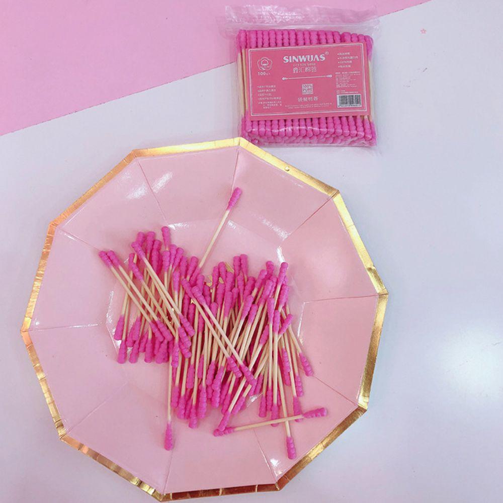100PCS Pink Girl Heart Cute Cotton Swab Stick Double Head Cotton Stick Disposable Makeup Remover Cotton Swab Cotton Bat