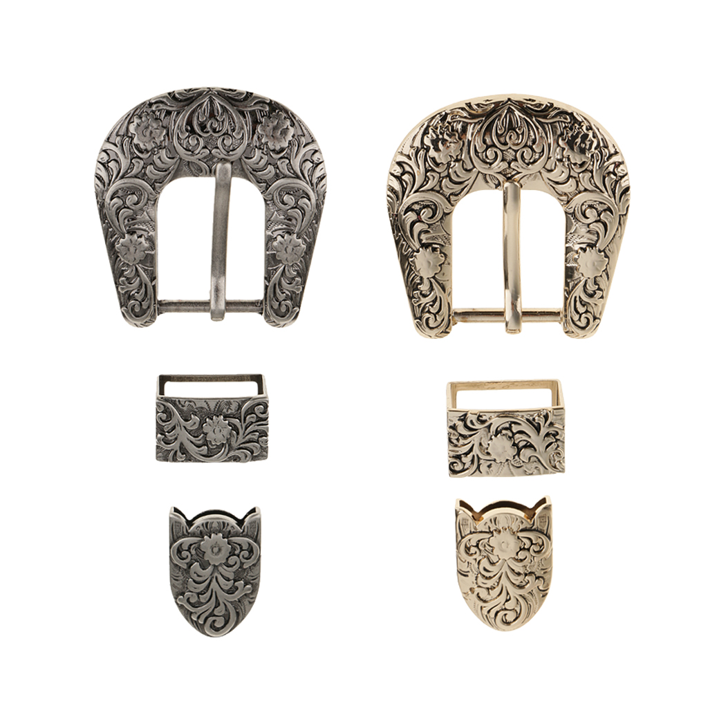 2 Sets 25mm Ladies Cowboy Belt Buckles Antique Gold Black Engraved Belt Buckle Spare Replacement Belt Buckles For Women