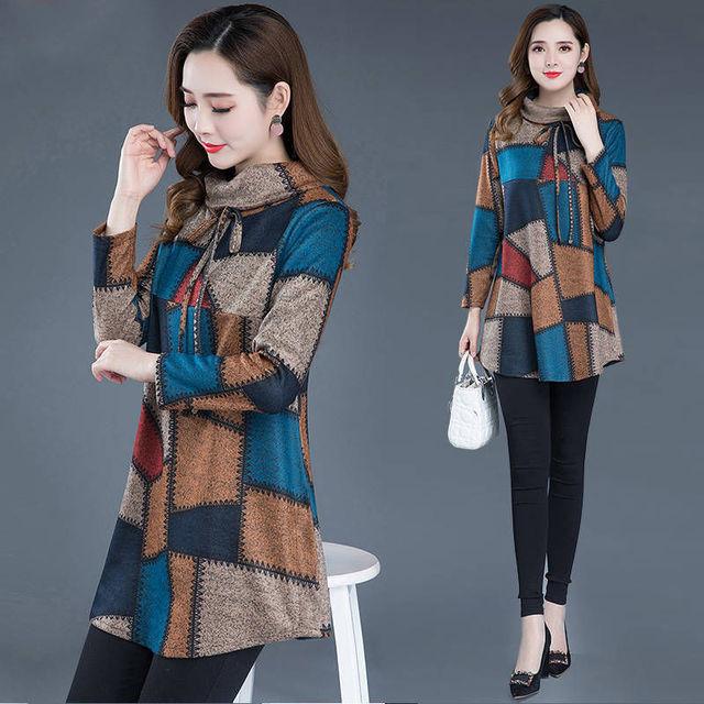 Tunic Women Long sleeve Plus size Tops Vintage Blouse Turtleneck Plaid Autumn Winter Warm Shirt Clothes Ladies Casual 2