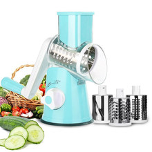 Manual Vegetable Cutter Meja Drum Round Mandoline Slicer Bawang Kentang Wortel Parutan dengan 3 Chopper Blades Dapur Gadget(China)