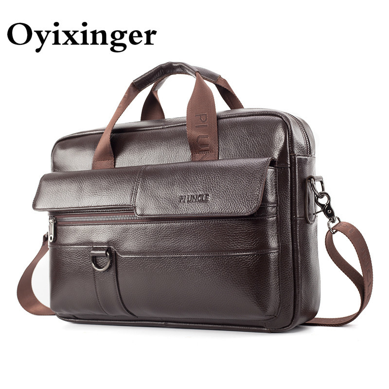 OYIXINGER Men's Genuine Leather Briefcases 14.1 Inches Computer Bag Male Business Crossbody Laptop Handbags Men Office Work Bags