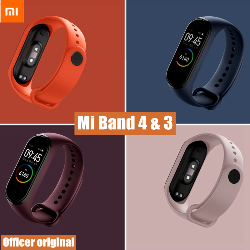 Official Original Xiaomi Mi Band 3 Strap Silicone Universal Wrist Band Xiaomi Mi Band 4 Bracelet Strap Smart Watch Accessories