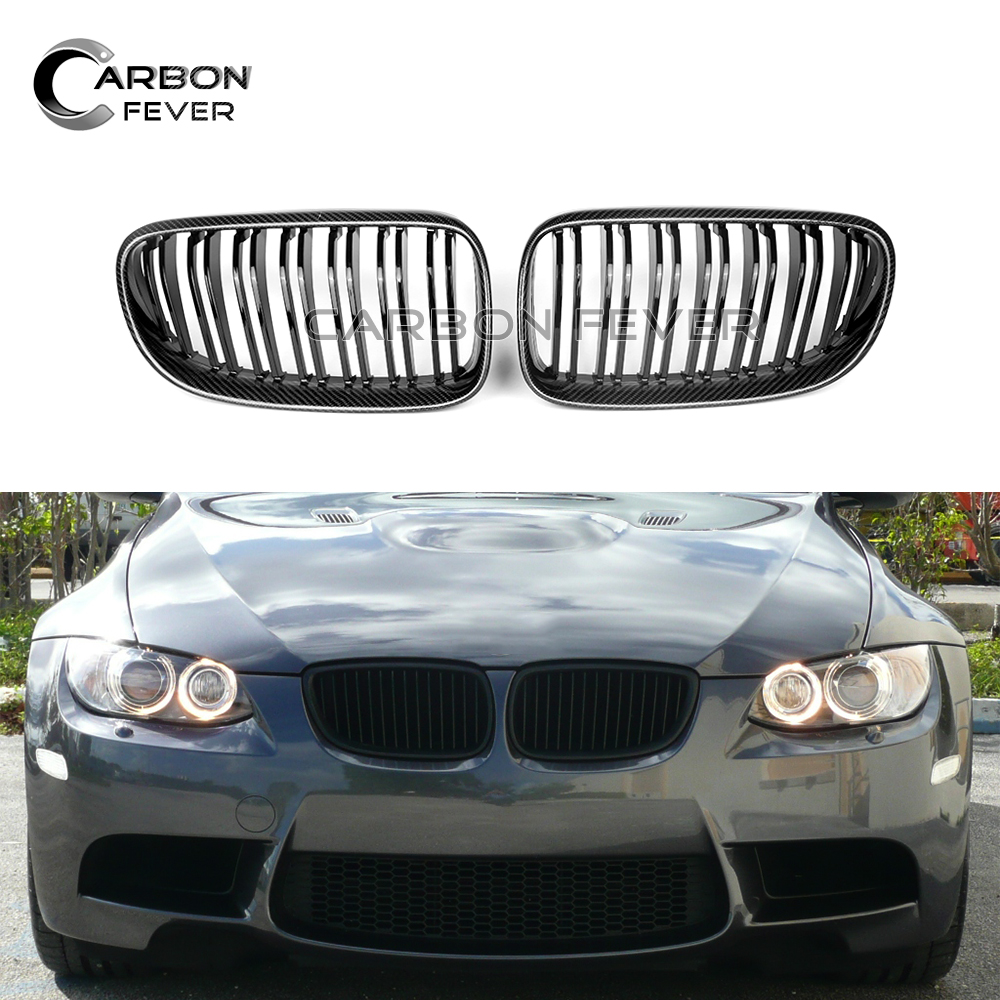 Carbon Gloss Black Front Grills For BMW 3 Series E92 Coupe E93 316i 318i 320i 328i 330i 335i 2010+ Double Line Racing Grille Racing Grills     - title=