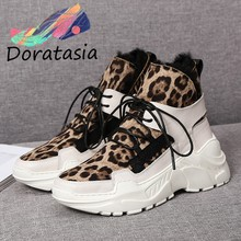 DORATASIA New Ladies Brand Winter Fashion Leopard Split Leather Boots Women 2019 Warm Platform Fur Boots Wedges Shoes Woman(China)