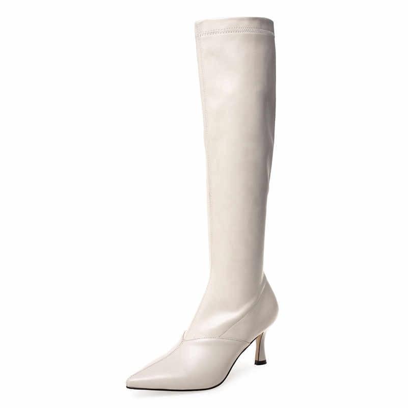 ANNYMOLIWinter genou bottes hautes femmes en cuir véritable naturel mince talon haut bottes longues Slim Stretch Zipper chaussures dame automne 34-39
