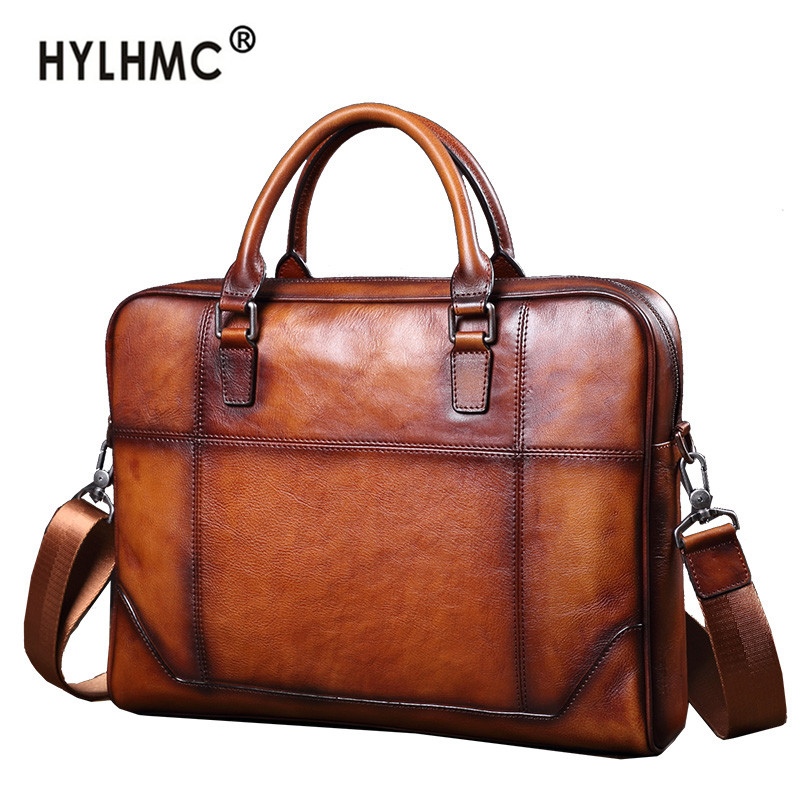 Men's bag first layer leather bag business briefcase 14 inch laptop bag men handbag Cowhide casual shoulder messenger bag male