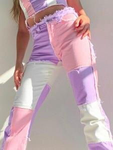 KLALIEN Trousers Disco-Pants Patchwork Streetwear Hip-Hop Zipper High-Waist Casual Fashion