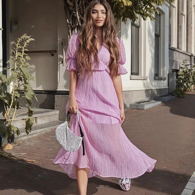 Vestidos largos de cintura alta para mujer, vestidos de manga abombada za púrpura, a la moda de verano con cuello en V, vestido elegante para chica 2020