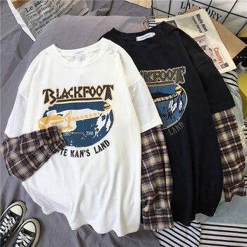 Korean Simple oversized graphic tees Women shirts harajuku Long Sleeve tshirt Leisure Plaid patchwork t shirt white black tops
