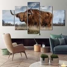 Корова под белыми облаками Холст Картина hd Печать украшение