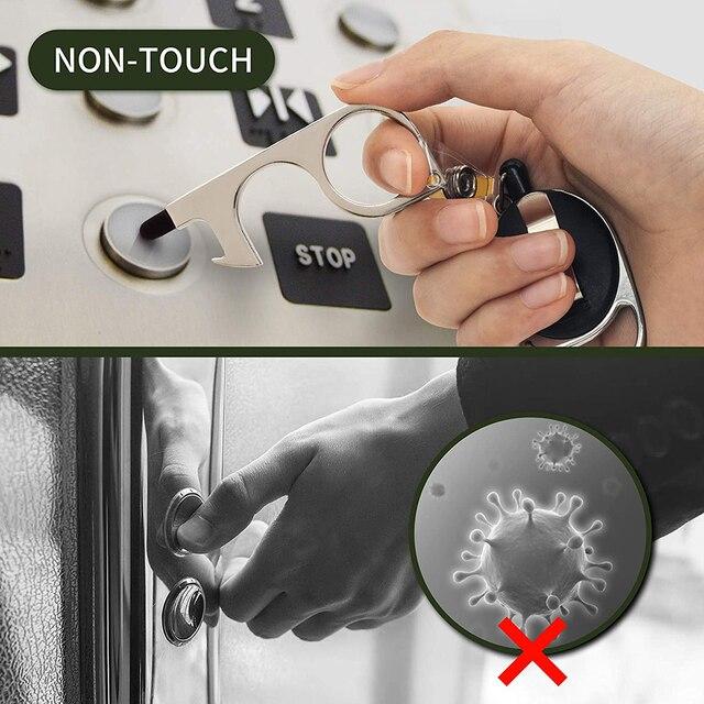 10 pièces sans contact bouteille ouvre-porte bouton poussoir stylet pointe rétractable porte-clés porte outil douverture