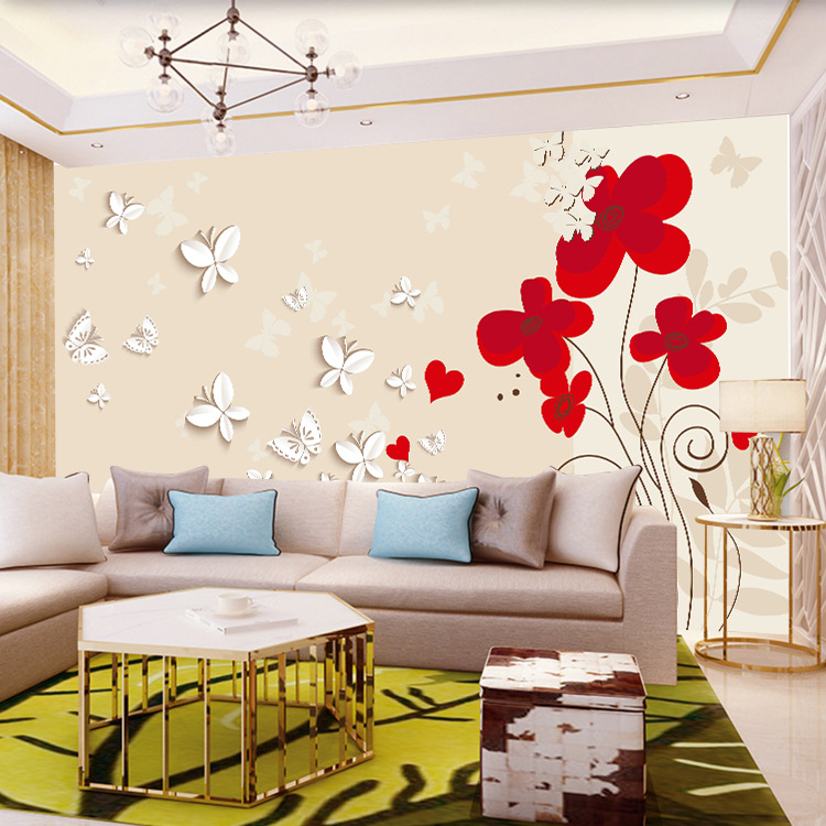 Customized Wallpaper Mural 3D Abstract Butterfly Red Plum Bedroom Living Room Television Sofa Background Wallpaper