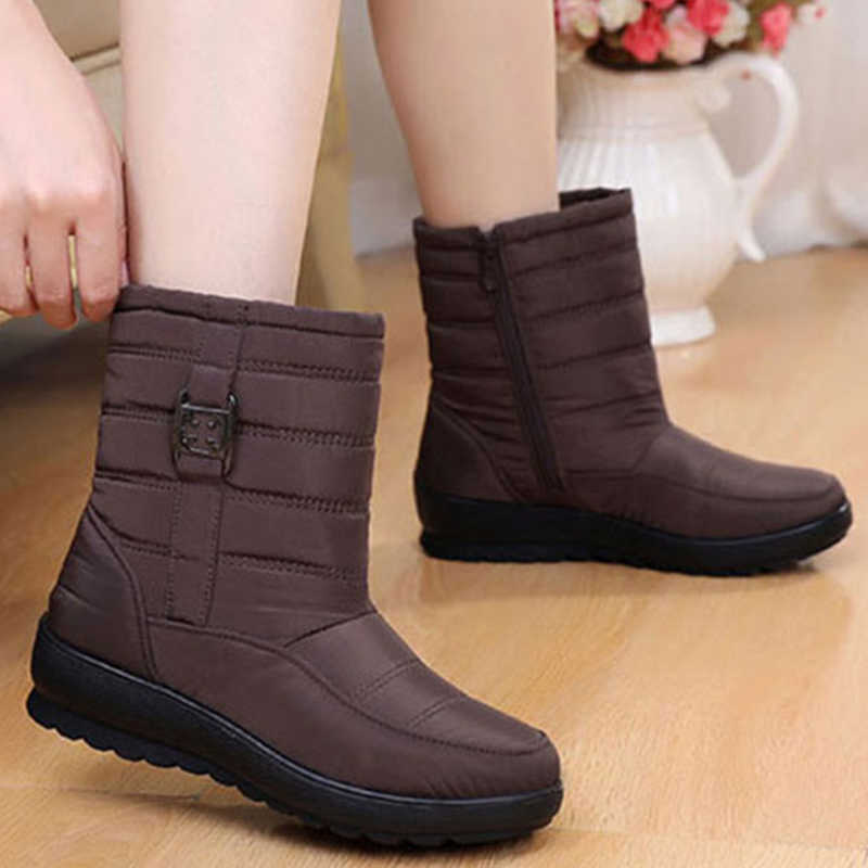 Kar botları kadın su geçirmez kadın ayakkabı kadın botları kalın peluş sıcak kış su geçirmez anne ayakkabısı bayanlar bileğe kadar bot