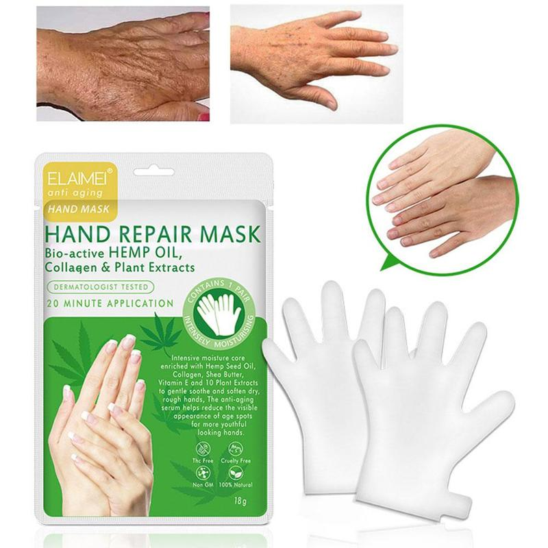 1 Pair Hemp Oil Etract Moisturizing Exfoliating Hand Foot Mask Glove Collagen Skin Care Anti Aging Hand Peeling Exfoliation Mask