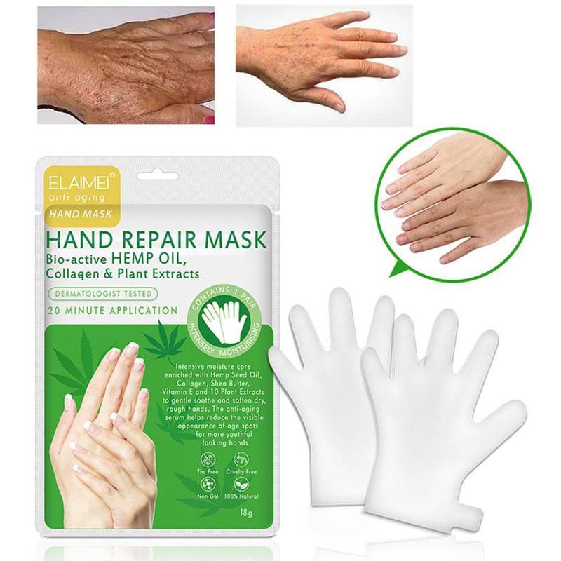 1 Pair Hemp Oil Etract Moisturizing Exfoliating Hand Foot Mask Glove Collagen Skin Care Anti Aging Hand Peeling Exfoliation Mask