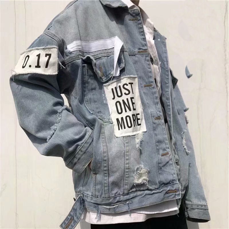 Jvzkass 2018 new student BF loose wild personality letter patch jacket hole denim female Z215