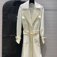 2019 New Style Elegant Trench Coat for Women with Rhinestone Belt Lapel Stitchin