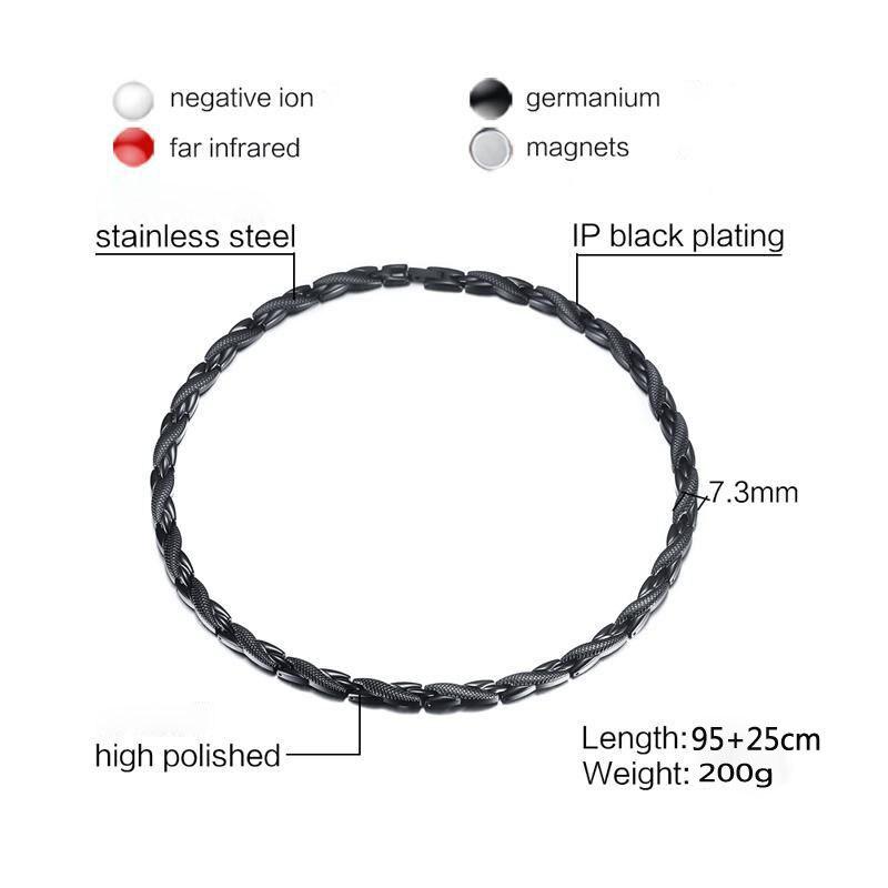 FXM acier inoxydable collier L10 vente chaude homme 10mm aimant pierre 3 couleur 95 + 25cm grande chaîne Grain texture or style différent