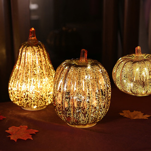 Image 5 - Glass Pumpkin Light LED Glowing Delicate Halloween Decorative Lamp Party Supplies for Thanksgiving Halloween Fall Decorations