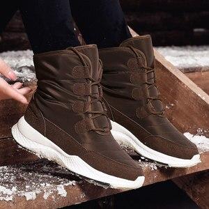 Image 3 - SKRENEDS damskie śniegowe buty zimowe buty ocieplane grube dno platformy wodoodporne botki dla kobiet grube futrzane bawełniane buty rozmiar