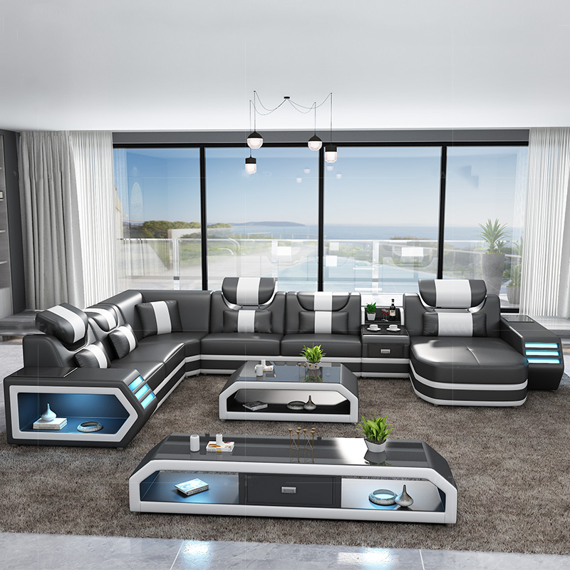 Hot Sale Modern Sofa Design Led Lights Living Room Sofa Set Blue Leather Sofa Living Room Sofas Aliexpress