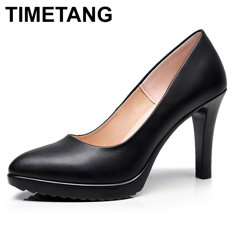 TIMETANGPlus Size 35-43 Classic Pointed Toe Platform Shoes Women's Pumps 2019 Spring Women's High Heels Black White Bridal Shoes