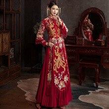 Women Mandarin Collar Costume Chinese Traditional Wedding Dress Bride Vintage Phoenix Embroidery Cheongsam китайская одежда