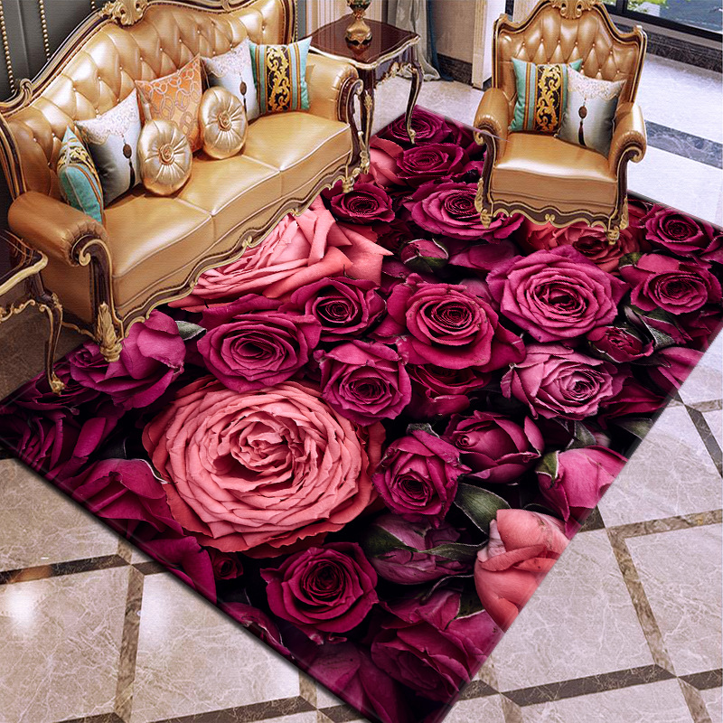 3D Flowers Pattern Carpets For Living Room Bedroom Area Rugs Non-Slip Hallway/Kitchen Floor Mats Parlor Decor Large Size Carpet