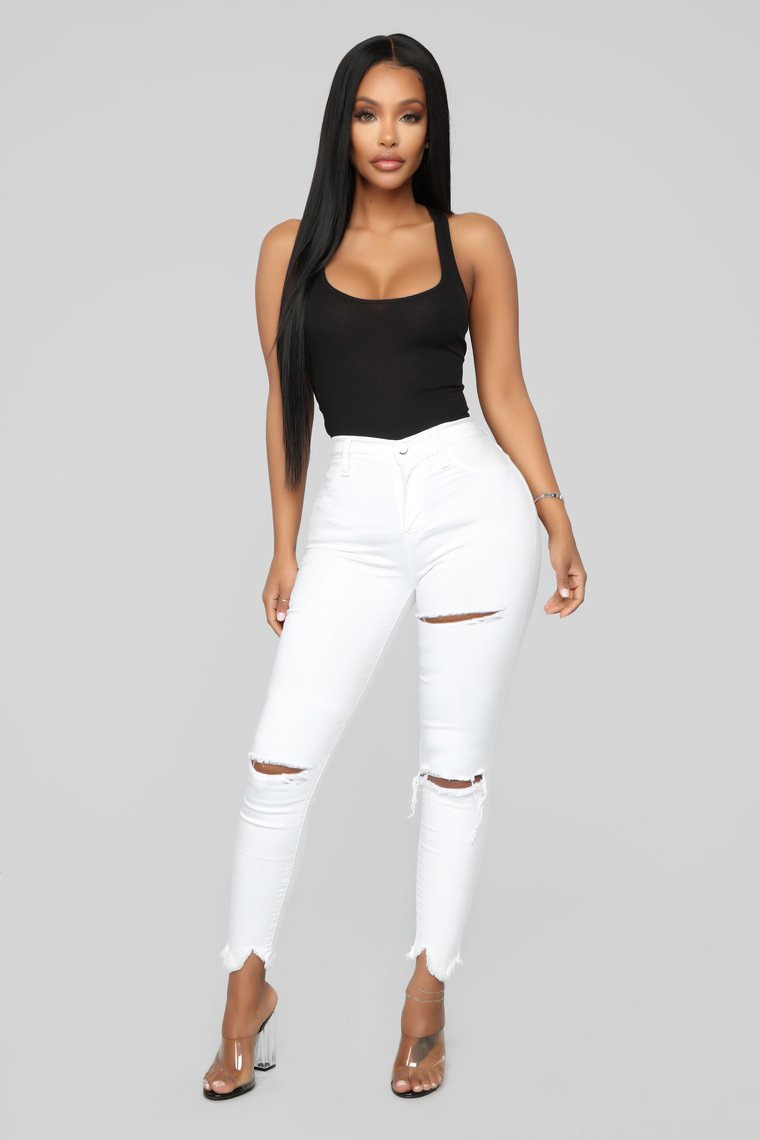 New Style European And American-Style White With Holes Jeans Women's