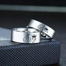 Vnox Crown King Queen obrączki dla pary zwykły błyszczący paski ze stali nierdzewnej kobiety mężczyźni obietnica biżuteria prezent na rocznicę