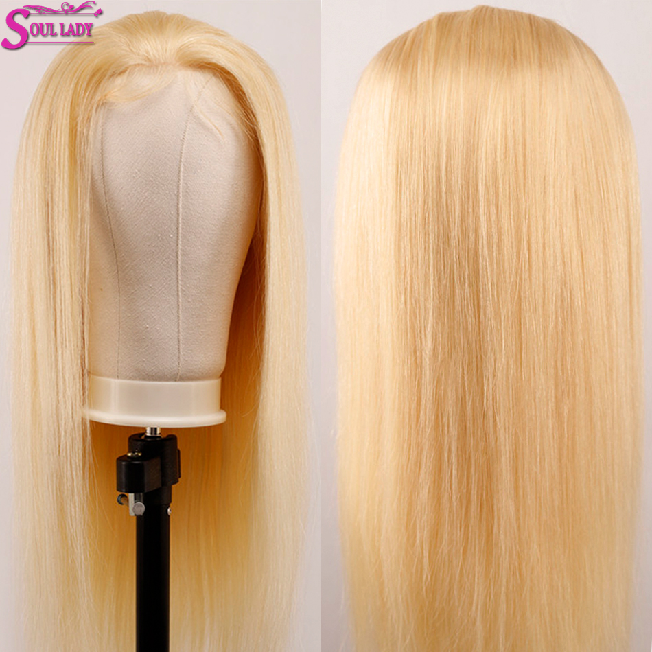 Soul Lady Platinum Blonde Glueless 13*4 Lace Front Wig 613 Frontal Wig Remy Brazilian Straight 613 Human Hair Wigs 180% Density - 2