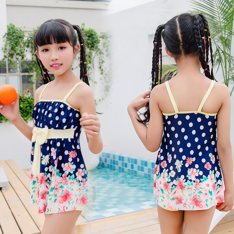 Children One-piece Bow 35-50 Jin Big Boy Korean-style Bathing Suit Girls Sweet Holiday Swimwear Nt109806