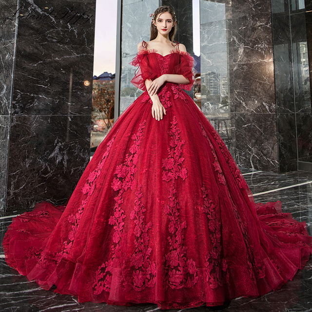 Vestido de Noiva kadın balo kırmızı düğün elbisesi 2020 kapalı omuz puf kollu katedrali tren dantel aplikler gelin elbise