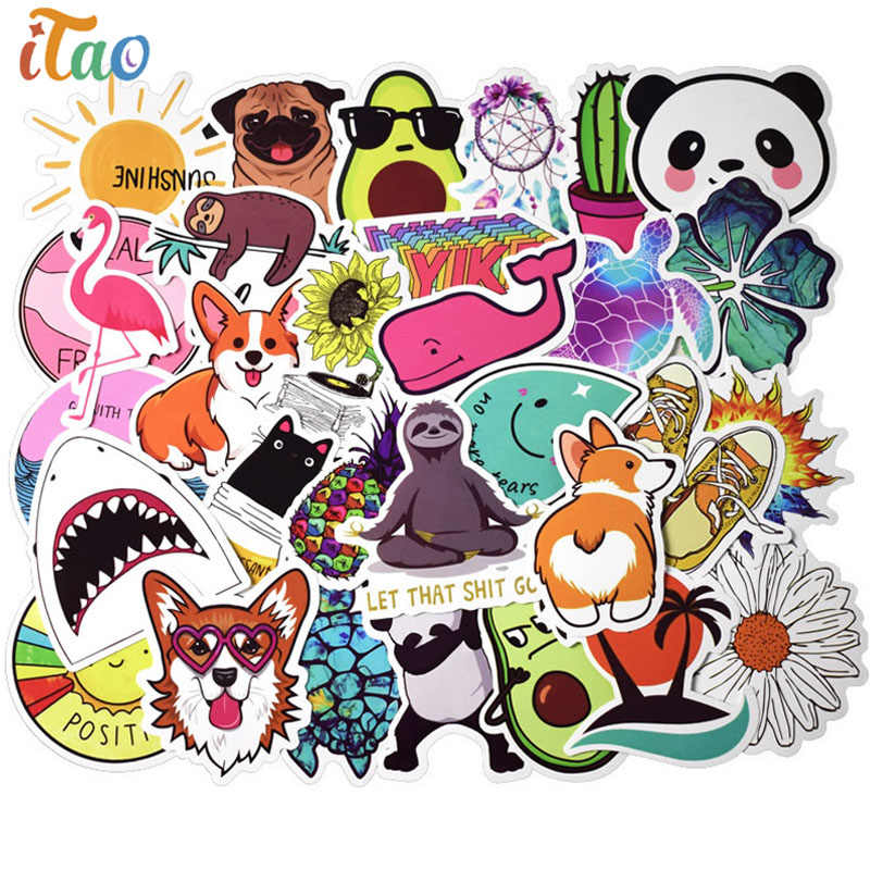 10/20/30/40/50Pcs Cartoon Dier Stickers Waterdichte Pvc Bagage Skateboard Gitaar Bagage Laptop vsco Cool Sticker Kinderen Speelgoed