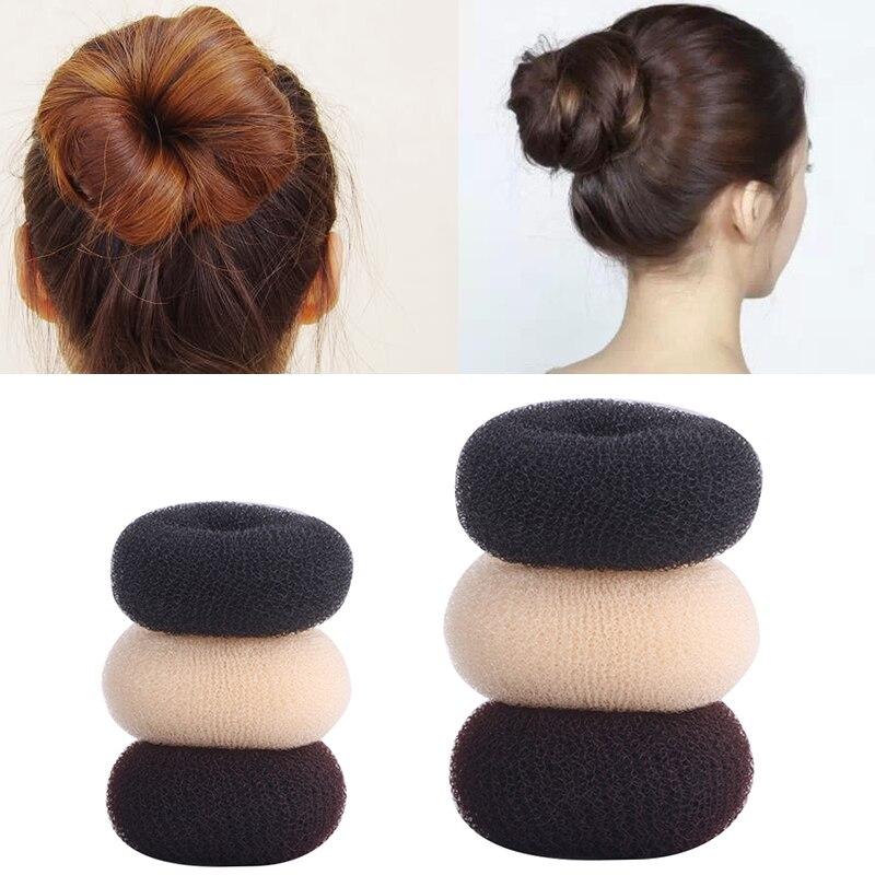 Fashionable Women Portable Size Nylon Magic Elegant Buns Hair Style Bun Maker Coffee